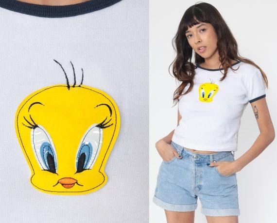 Looney Tunes Shirt TWEETY BIRD TShirt 90s Shirt Y2K Ringer Top Graphic Cartoon T Shirt Vintage Retro Tee 00s Warner Bros Medium