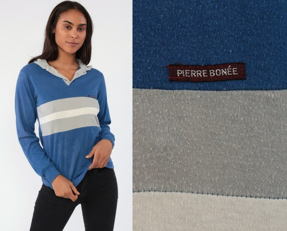 Long Sleeve Polo Shirt 80s Striped Shirt Blue Pierre Bonee 1980s Grey Preppy Top Button Up Collared 1980s Collar Vintage Small
