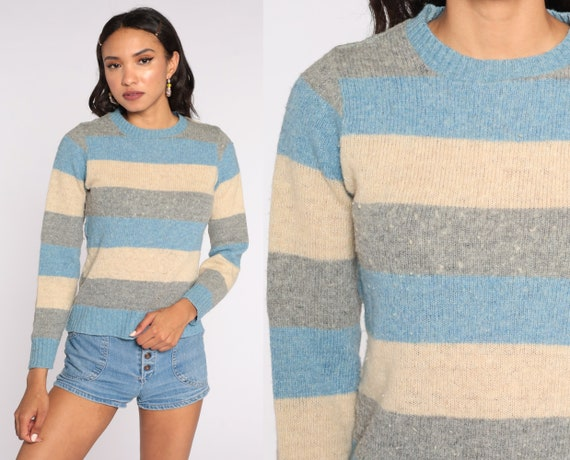 Wool Striped Sweater 80s Knit Tan Grey Blue Sweater Slouch 1980s Jumper Vintage Pullover Retro Small S