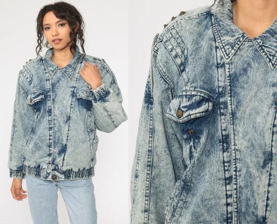 80s Denim Jacket ACID WASH Jean Jacket Vintage Grunge Jacket Trucker Button Up Blue 90s Medium