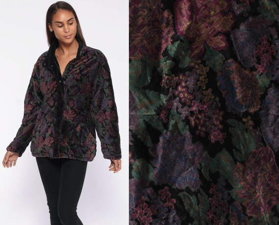 Floral Velvet Jacket -- 90s Grunge Coat Purple Green Flower Print Snap Up Zip Up Mediumweight 1990s Oversized Fall Jacket Large