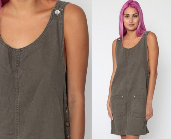 Taupe Jumper Dress 90s Mini Grunge Pinafore Overall Dress Pocket Brown 1990s Vintage School Girl Preppy Cotton Sleeveless Small