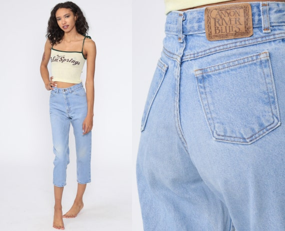90s Mom Jeans Cropped Capri Jeans High Waisted Jeans Denim Slim 90s Vintage Extra Small xxs 2xs