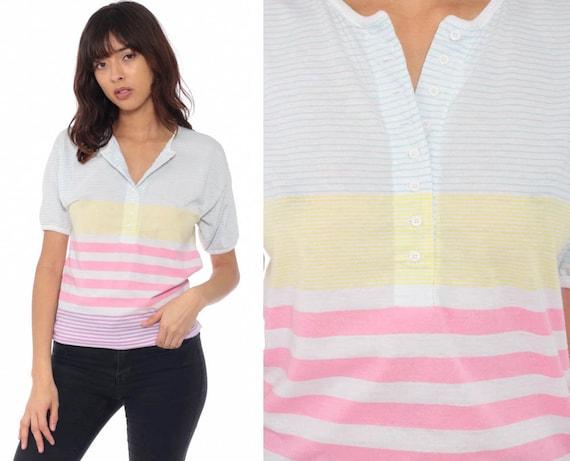 Rainbow Striped Shirt Pastel Stripes Tshirt 80s Polo Half Button Up Top 1980s Short Sleeve Shirt Vintage Retro Extra Small xs