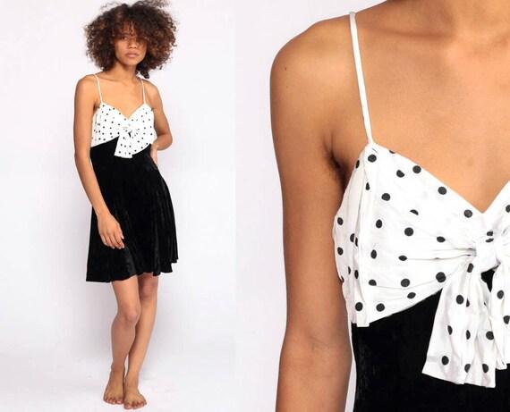 Velvet Mini Dress 80s Party Dress Polka Dot Black White Fit and Flare Skater Prom 90s Cocktail Vintage Minidress Extra Small 2xs xxs