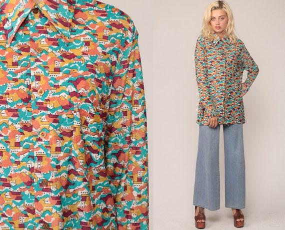 Boho Top 70s Shirt Hippie Blouse NOVELTY Bohemian HOUSE PRINT Psychedelic Button Up 1970s Vintage Long Sleeve Bohemian Op Art Blue Large