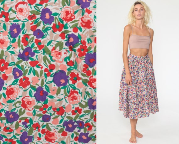 Floral Midi Skirt 90s Pink Purple Summer Skirt Boho Print HIGH WAISTED 80s Long Vintage Hippie Festival Hipster Rayon Extra Small xs