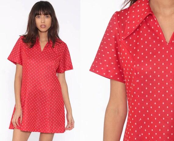 Red Polka Dot Dress Mod Mini Dress 60s Shift 70s Space Age Polyester Vintage Sleeveless Minidress Medium