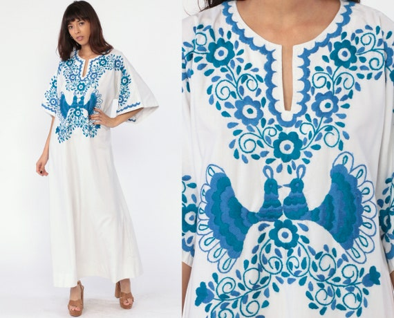 Embroidered Peacock Dress Mexican Maxi Print Caftan Cotton Floral Hippie Long Bohemian Dress Kaftan Bird Boho Ethnic White Blue Small Medium
