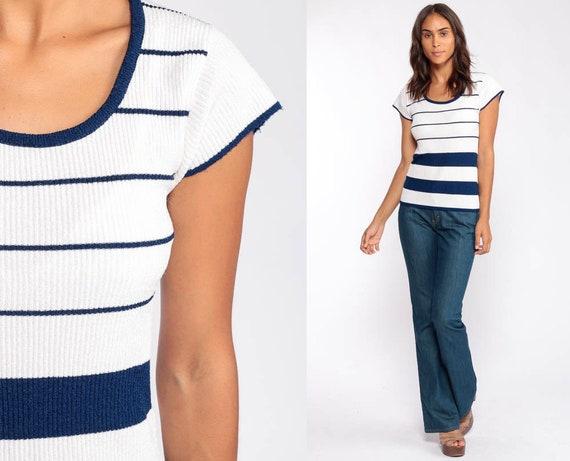 70s Knit Shirt Striped Top Boho Cap Short Sleeve Sweater Top White Navy Blue Bohemian Retro Tee Vintage Slouch 80s Small Medium