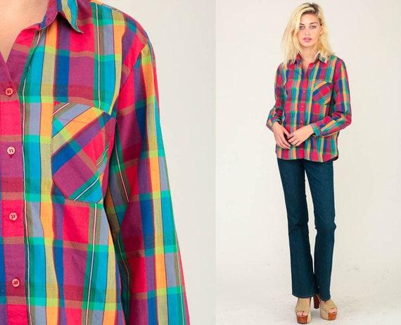 Plaid Shirt 80s Button Up Blouse Checkered Print DVF Shirt Long Sleeve Diane Von Furstenberg 1980s Top Vintage Hipster Cotton Large