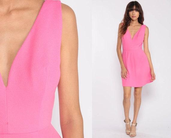 70s Mini Dress Mod Deep V Neck Dress Pink Party Fit and Flare High Waisted Retro Vintage Sleeveless 1970s Minidress Bohemian Extra Small xs