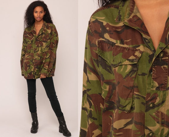 Army Shirt Camo Shirt Military Jacket Camouflage Utility Olive Drab Green 80s Commando Cargo Field Button Up Oversized 1980s Large