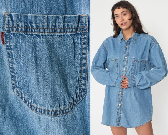 Levis Denim Shirt 90s Blue Button Up Shirt Jean Shirt Grunge Streetwear Long Sleeve Cotton Oversized Button Down Medium Large
