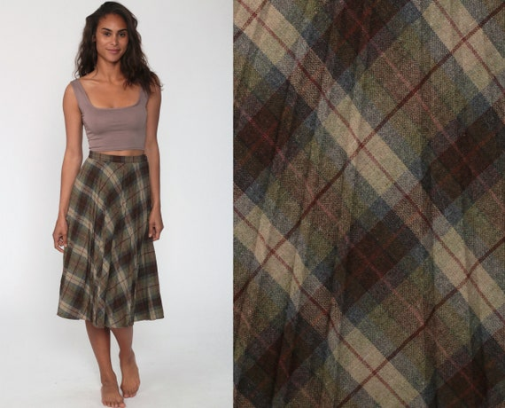 Wool Midi Skirt School Girl Plaid Pleated Tartan High Waisted 70s Mod Brown Preppy Checkered Retro Vintage Lolita 1970s Extra Small xs