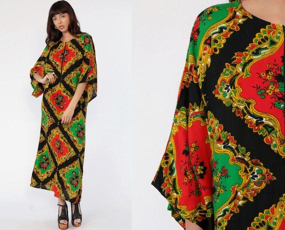 70s Caftan Dress BELL SLEEVE Dress Psychedelic Boho Maxi Kimono 1970s Bohemian Floral Print Hippie Festival Kaftan Vintage Small Medium