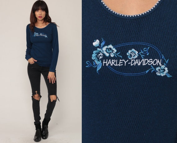 Harley Davidson Shirt 90s Biker Shirt THERMAL Shirt Floral EMBROIDERED Waffle Knit Motorcycle T Shirt Vintage Blue Long Sleeve Small Medium