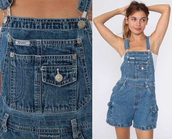 Denim Overall Shorts Revolt Jean Overalls 90s Distressed Jean Pocket Bibs Blue Streetwear Woman 1990s Vintage Cargo small