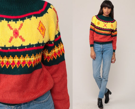 Fair Isle Sweater Ethnic Bohemian 70s Boho Nordic Striped Knit Norwegian Vintage 80s Pullover Jumper Orange Tribal Small
