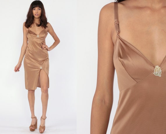 Tan Slip Dress HIGH SLIT Brown Rose Lingerie Slip Dress 70s Midi Full Slip Vintage Boho 1970s Spaghetti Strap Nude Flesh Tone Small