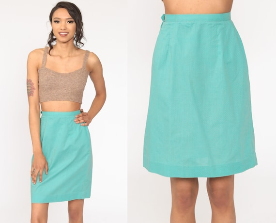 Turquoise Pencil Skirt 70s Polka Dot Skirt High Waisted Wiggle Mini Blue Retro Vintage Party Cocktail Skirt Office Extra Small 2xs xxs