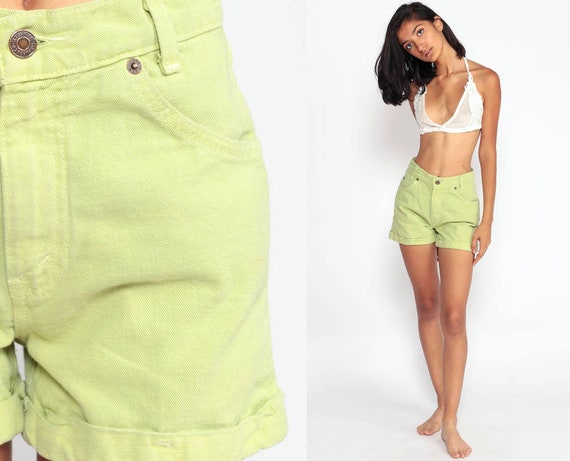 Levis Denim Shorts Lime Green Shorts Neon 80s Denim Shorts Levi Jean Shorts CUFFED High Waisted 90s Hipster Vintage Extra Small 26 2