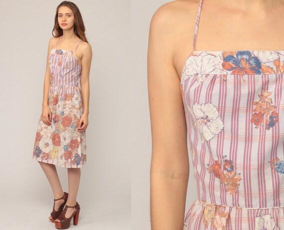 Summer Dress 70s Sundress Floral Open Back Boho Criss Cross Midi Sun 1970s Hippie COTTON Backless Bohemian High Waist Extra Small xs