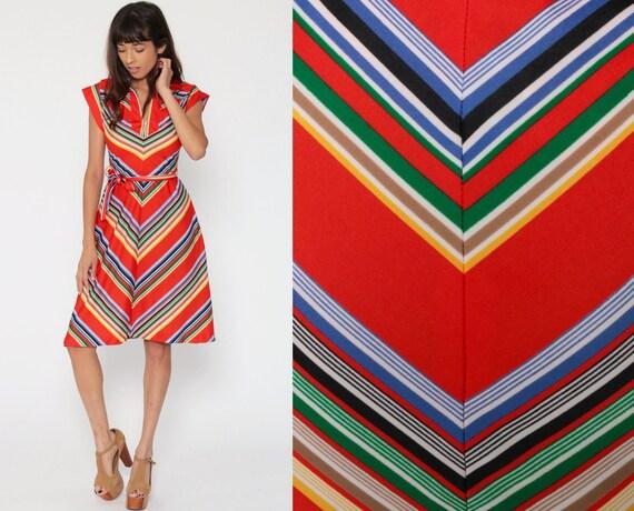 Rainbow Chevron Dress 70s Stripe Mini Red Cap Sleeve Hippie Boho Summer Vintage High Waisted Bohemian Retro Bright Extra Small xs