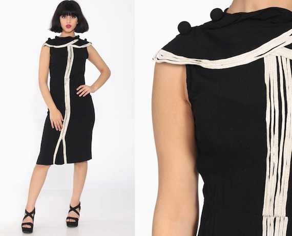 Black Cocktail Dress 1960s Sheath Wiggle White Stripe Collar 60s Mad Men Hourglass Sleeveless 50s Fitted Party Vintage Midi Extra Small xs