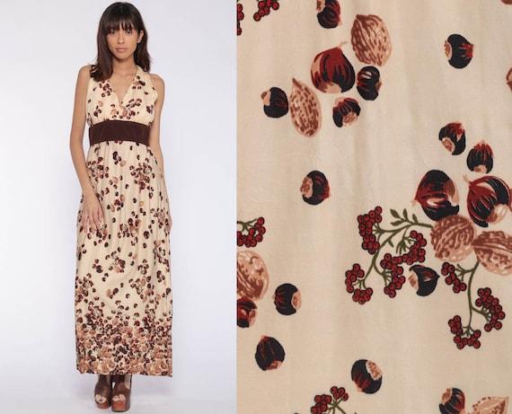 Hazelnut Print Dress Boho Maxi Dress 70s Hippie Novelty Bohemian Fruit Nut Vintage Sleeveless 1970s Empire Waist V Neck Small s