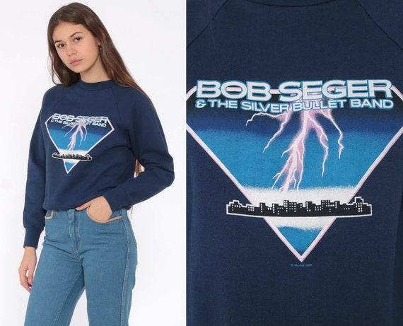Bob Seger Band Shirt Music Sweatshirt 80s Musician Jumper Lightening Vintage Pullover Graphic Extra Small xs