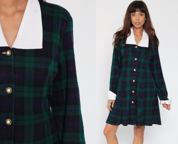 Plaid Mini Dress 80s Blue Green Tartan Checkered 1980s Lolita Button Up Sheath Grunge Contrast Collar Long Sleeve Vintage School Girl Medium