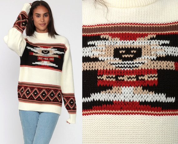 Tribal Sweater 70s AZTEC Hopi Kachina Sweater Slouchy 80s Bohemian Vintage Stripe Pullover Cream Brown Jumper Knit Medium Large