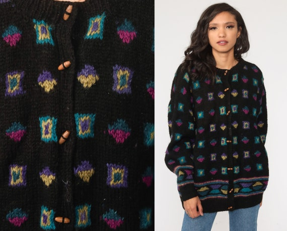 Wool Cardigan Sweater 80s Sweater Black Toggle Button Sweater Geometric Chunky Sweater Button Up 1980s Heavy Vintage Boho Large L