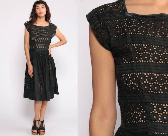 Black Eyelet Dress Party Mad Men 1960s Eyelet Cotton Lace Tea Length 50s Day Full Skirt Cocktail Midi High Waisted 60s Formal Extra Small xs