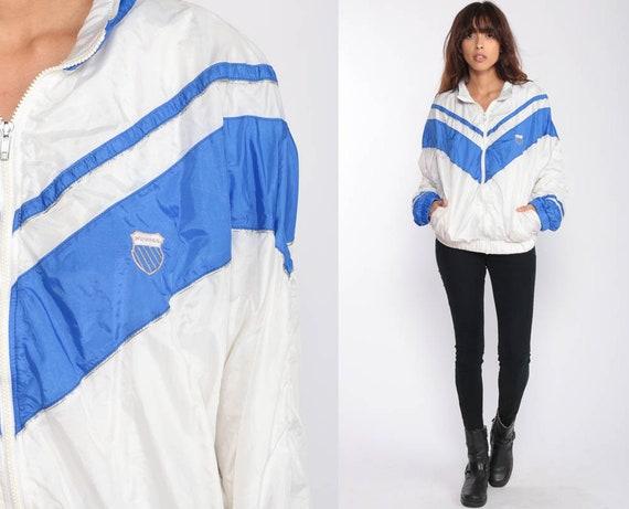80s Windbreaker Jacket K SWISS Jacket Striped Windbreaker White Blue Hipster Vintage 90s Extra Large xl
