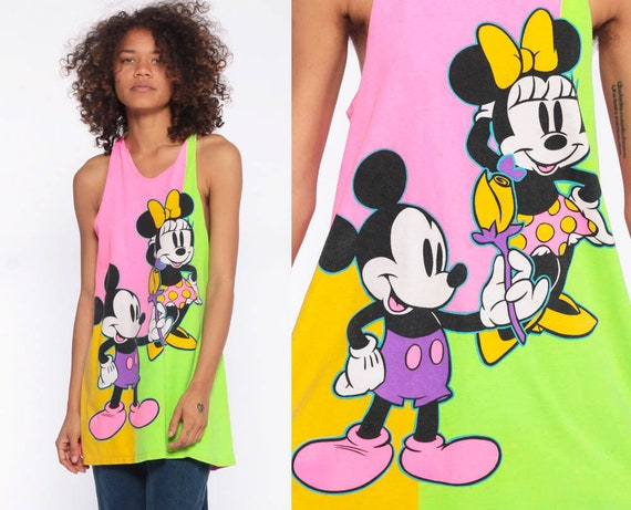 Neon Disney Tank Top 90s Mickey Mouse Minnie Pink Lime Color Block Racerback Shirt 90s Streetwear Tee 1990s Low Armhole Extra Extra Small xs