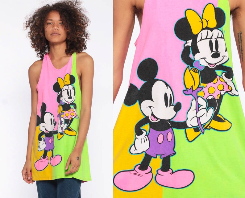 ff92a32c2ca7f Neon Disney Tank Top 90s Mickey Mouse Minnie Pink Lime Color