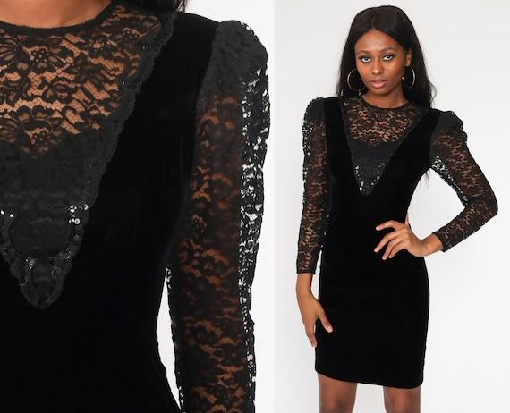 Velvet Mini Dress 80s Black Lace Party Dress BEADED Sheer Puff Sleeve Vintage Floral Bohemian Festival Bodycon Small 4