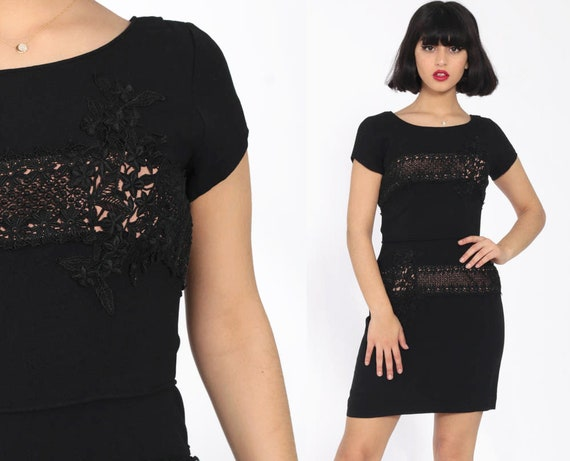 Black Cocktail Dress Floral Lace 1960s Party Sheath Mini Wiggle 60s Pin Up Mad Men Hourglass 50s Fitted Party Vintage Pinup Extra Small xs