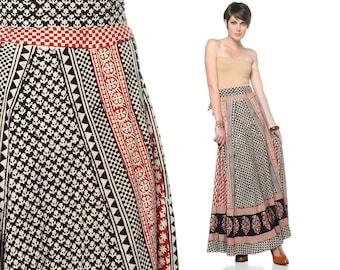 70s Maxi Skirt Bohemian Wrap Cotton Floral 1970s Hippie Boho Ethnic Indian Black Red High Waist Full Skirt Dress Vintage Small Medium Large
