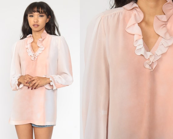 Pink Ruffle Blouse 70s TUXEDO Top 1970s Ombre Gradient Shirt Vintage Puff Sleeve Shirt Secretary Shirt 70s Medium