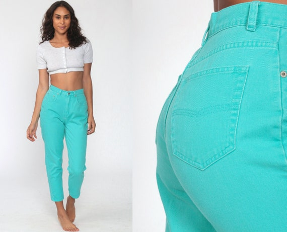 Turquoise Mom Jeans 90s Tapered Jeans High Waisted Jeans Blue 80s Denim Cigarette Pants Ankle Colored Vintage Extra Small xs 2 25