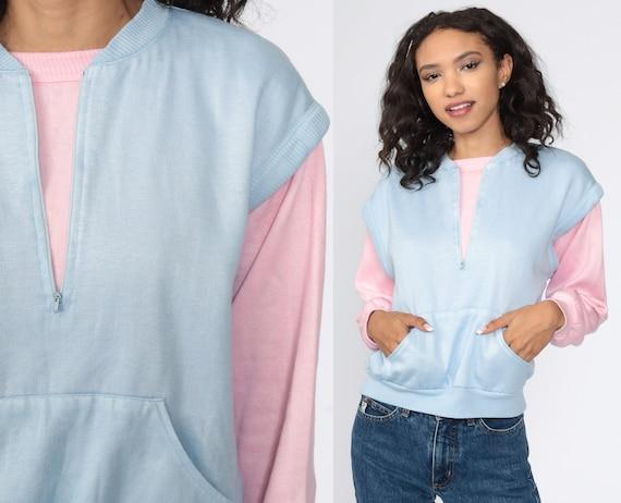 Pastel Sweatshirt Baby Blue + Pink Color Block Sweatshirt Kangaroo Pocket Sweatshirt 80s Sweater Slouchy Pullover Vintage Medium