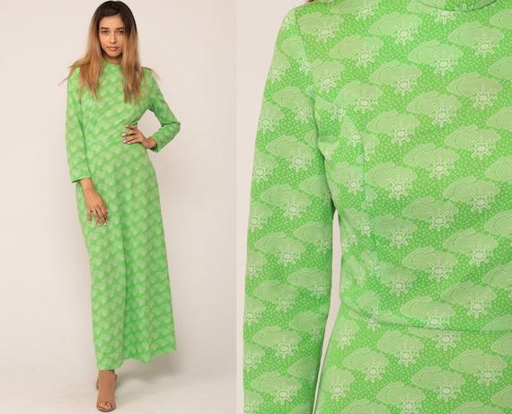 Cloud Dress 70s Long Bohemian Maxi SUN PRINT High Waist Psychedelic Novelty Hippie Boho 1970s Long Sleeve Green Vintage Graphic Medium Large