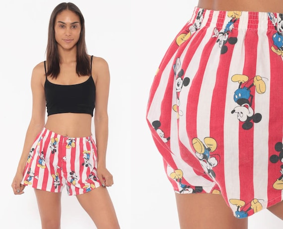 Mickey Mouse Boxer Shorts Hanes Underwear Walt Disney Shorts 80s Retro Pajama Shorts Red Striped Vintage Elastic Waist Small
