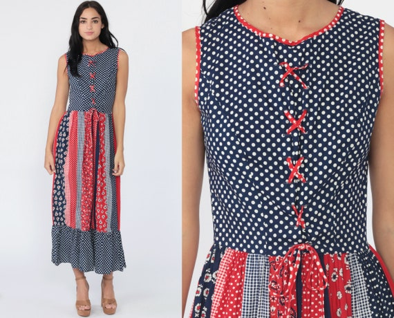 Polka Dot Floral Dress Boho 70s Long Maxi Red Blue Lace Up Patchwork High Waist Hippie 1970s Summer Vintage Bohemian Retro Sleeveless Small