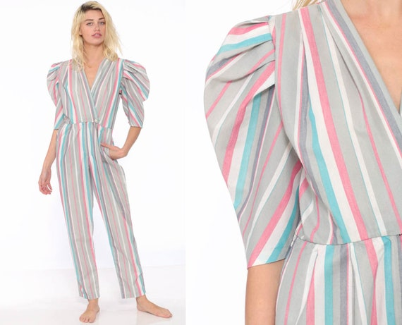 80s Striped Jumpsuit Tapered Puff Sleeve Cotton Pantsuit Romper Striped Half Sleeve Deep V Wrap Pastel Striped Extra Small XS