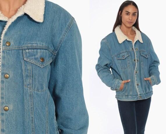 80s Denim Shearling Jacket -- 1980s Denim Sherpa Jacket Jean Trucker Biker Coat Blue 1980s Vintage Button Up Fleece Medium