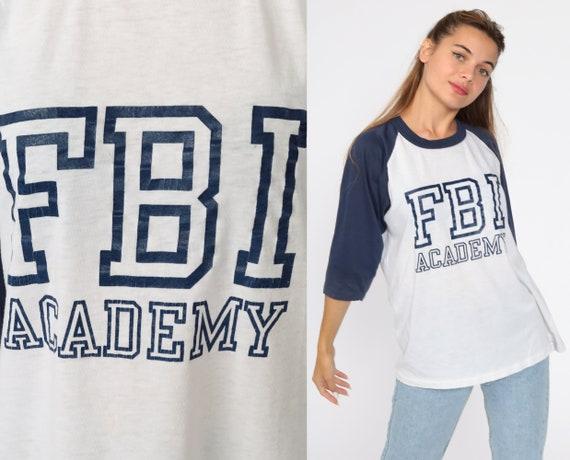FBI Academy Shirt Ringer Tee Baseball Tshirt 80s Retro T Shirt Raglan Tee Slogan Shirt Vintage Long Sleeve Burnout Extra Large xl l